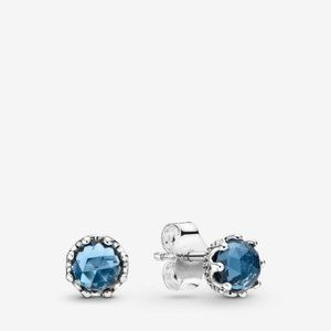PANDORA Blue Sparkling Crown Stud Earrings